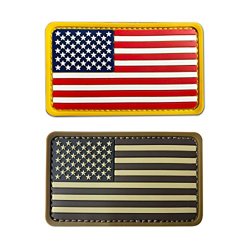 2x3.5 3D PVC Rubber US USA American Flag Patch Velcro Brown