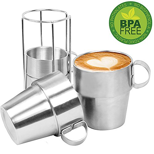 Coffee Mug Stainless Steel Insulated Cups Double Wall Coffee Cups Tea Cups Set of 4 Shatterproof 10oz ,290ml (Set Tea Stackable)
