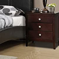 Poundex Contemporary Wood 3-Drawer Night Stand