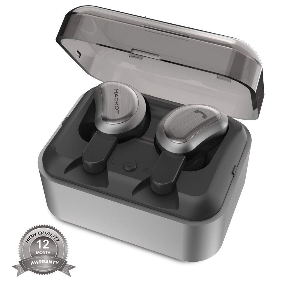 True Wireless Bluetooth Earbuds, MAOKOT Cordless Stereo Headphones Mini Twins TWS Headsets, Noise Cancelling Sweatproof Hands Free In-Ear Earphones for iPhone, ipad and Smartphones