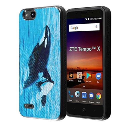 ZTE Tempo X Case, Capsule-Case Embossed Diagonal Lines Hybrid Dual Layer Slim Armor Case (Black) for ZTE Tempo X N9137 – (Killer Whale)