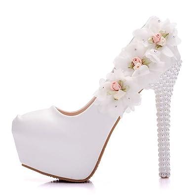Amazon modeok womens white wedding shoes flowers stiletto modeok womens white wedding shoes flowers stiletto platform flower high heelswhite 343 mightylinksfo