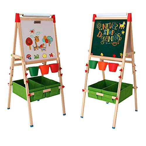 Arkmiido Kids Easel with Paper Roll Double-Sided Whiteboard & Chalkboard Standing Easel with Bonus Magnetics, Numbers and Other Accessories for Kids and Tollders (with Paper ()
