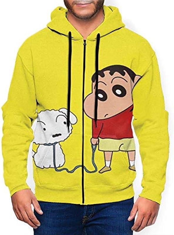IUBBKI Męskie Crayon-shin Chan und Dog Pet Fashion Zipper Cardigan Langarm mit Hut für Outdoor-Aktivitäten: Odzież