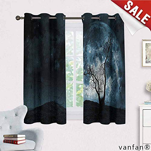 Big datastore Fantasy Curtain Set of 2,Night Moon Sky with Tree Silhouette Gothic Halloween Colors Scary Artsy Background Blackout Printed for Kitchen,Slate Blue W63 x L72