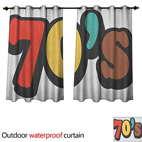 - 70s Party Outdoor Curtains for Patio Sheer The Seventies Symbol Striped and Soft Colored Music Discotheque Artful Design W120 x L72(305cm x 183cm)
