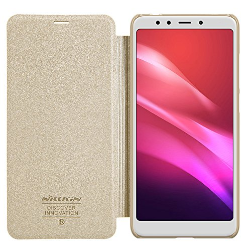 Xiaomi Redmi 5 Plus Carcasa Case - BCIT Alta Calidad PU Flip Slim Smart Cover Funda Protectora cubierta para Xiaomi Redmi 5 Plus - Oro