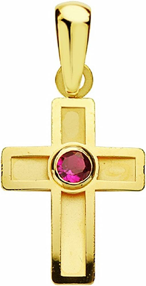 Colgante oro 18k cruz 17mm. piedra roja [AA2393]