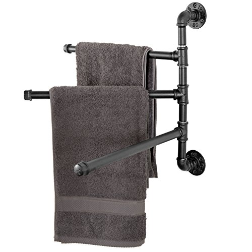 MyGift Wall-Mounted Industrial Pipe 3-Arm Swivel Towel Bar R