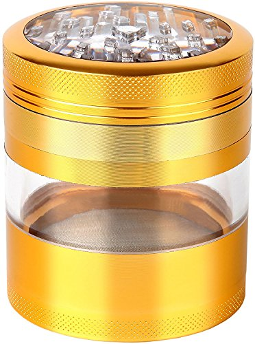 """Zip Grinders Large Spice & Herb Grinder - Four Piece with Pollen Catcher - 3.25 Inches Tall - Premium Grade Aluminum (2.5"""", Gold)"""