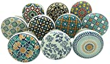 Set of 10 blue/grey/white Vintage Hand-Painted Ceramic Knobs/Door Pulls and Drawer Knobs