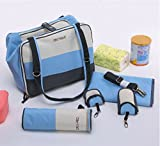 SOHO Classic 6 in 1 Deluxe Baby diaper bag (Blue) with changing pad, Bottle case