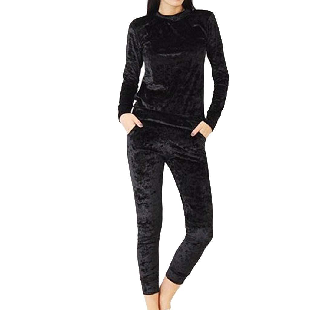 NUSGEAR Tuta Sportiva Donna Completi Felpa in Velluto Pantaloni Jogging 2 Pezzi Invernale Autunno Tuta per Passeggiata Casual Pigiama Tute da Ginnastica