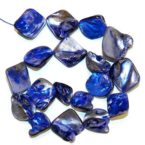 Blue Diamond Nugget 16mm - 20mm Mother of Pearl Gemstone Shell Bead Stran