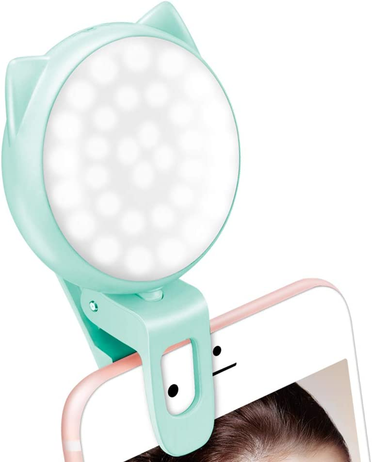 Compact Adjustable Lighting Lightweight New and Improved USB Rechargeable Selfie Mini Light Ring LED Light Bulbs Ivory White and Multi Usage