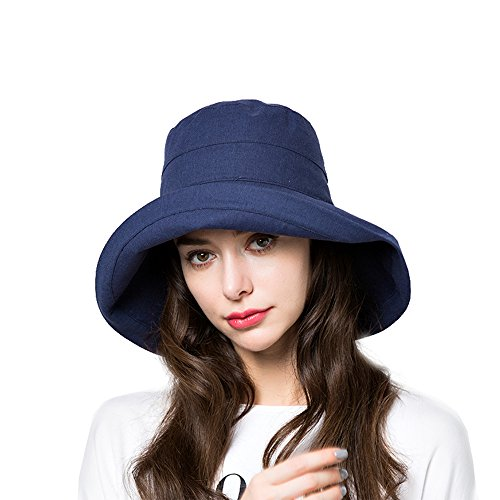 Sun Bucket Hat Women Summer Floppy Cotton Sun Hats Packable Beach Caps SPF 50+ UV Protective(A4-Navy)