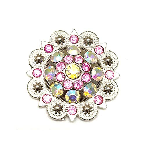 Berry Conchos with Screws Metal Flower Rhinestone Conchos 12 Pieces (Color2) (Custom Conchos)