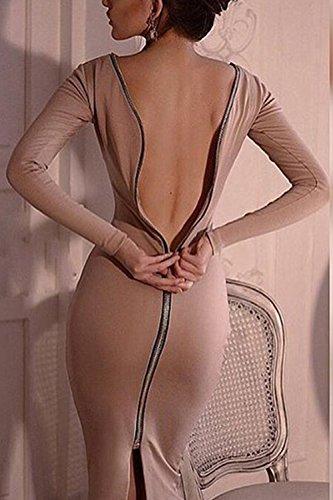 Women 's Long Sleeve Bodycon Clubwear Vestido De Fiesta De Cremallera De La Espalda apricot