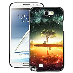 Snap-on Series Teléfono Carcasa Funda Case Caso para Samsung Note 2 N7100 , ( Abstract Galaxy Lake )