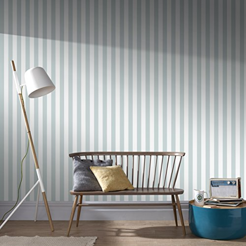 Graham & Brown 103266 Helen Glitter Stripe Duck Egg/White Wallpaper