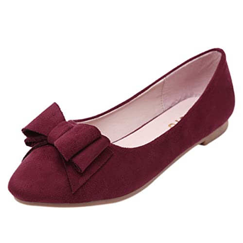 fancystar Mujer Lazo Slip On Mocasines Planos Bombas, color Rojo, talla 39: Amazon.es: Zapatos y complementos