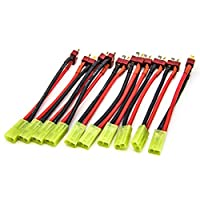 Allytech 10Pcs Deans Charging Adapter T Male Plug to Mini Tamiya Connector Adapter with 10cm For RC Car Lipo Battery Charge