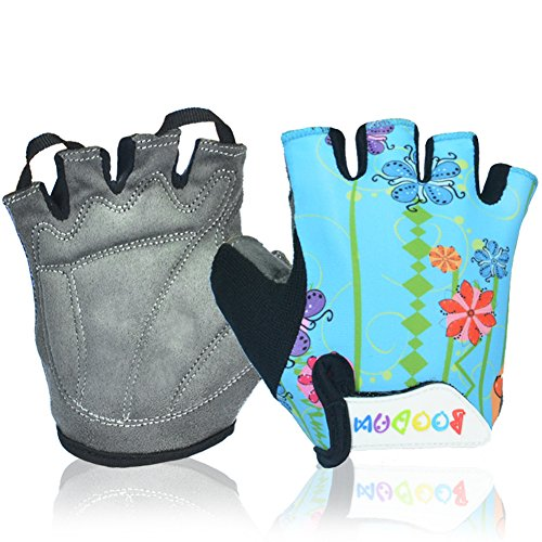 MIFULGOO Boy Girl Child Children Kid Lycra Padded Half Finger Fingerless Short Gloves Mitt Mitten for Cycling MTB Exercise Skate Skateboard Roller Skating (Blue Flower, (Short Finger Bike Gloves)