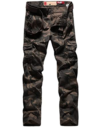 616da2798ea Lavnis Men s Casual Cargo Pants Military Army Camo Combat Camouflage Work  Pants Brown 28