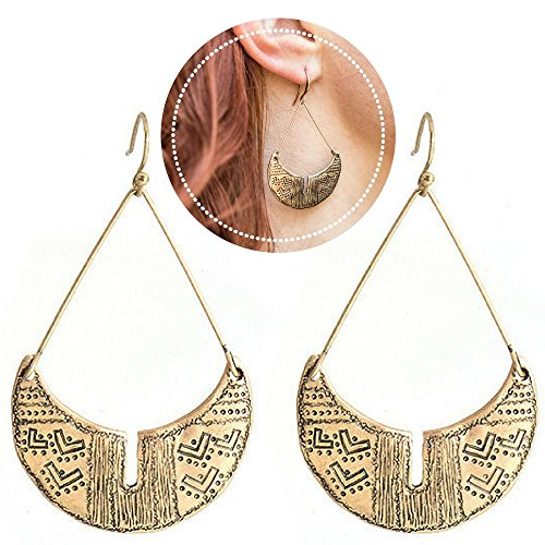Bronze Dangle Drop Earrings Antique Gold Geometric Dangles (Bronze Dangle) ()