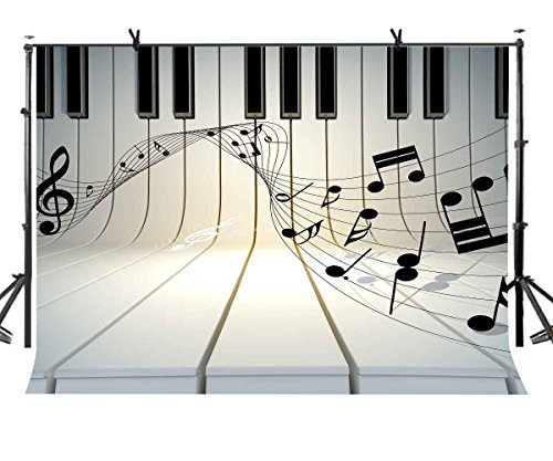 LYLYCTY 7x5ft Music Theme Backdrop Piano Black and White Key Music Symbol Music Element Photo Studio Photography Background Props Video Studio Props LYLX436 ()