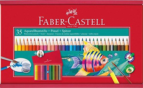 Faber-Castell 114415 - Holzbox mit 35 Aquarellbuntstiften, Spitzer und Pinsel