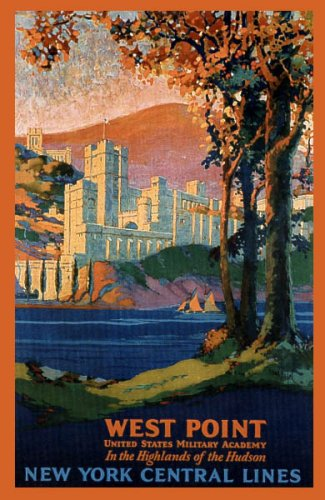 WEST POINT UNITED STATES MILITARY ACADEMY HIGHLANDS OF THE HUDSON NEW YORK VINTAGE POSTER -
