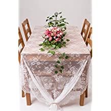 """Crisky 60""""x120"""" Classic White Lace Tablecloths for Weddings, Rose Vintage Embroidered Lace Table runner Overlay for Baby & Bridal Shower Décor, Elagent Chic Spring Sunmmer Outdoor Tea Party Tablecover"""