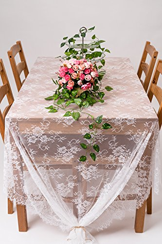 "Crisky 60""x120"" Classic White Lace Tablecloths for Weddings, Rose Vintage Embroidered Lace Table runner Overlay for Baby & Bridal Shower Décor, Elagent Chic Spring Sunmmer Outdoor Tea Party Tablecover"