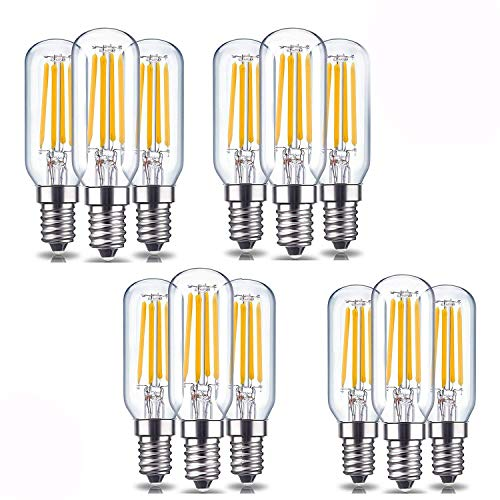 (Rekabel Dimmable Tubular LED Bulb, 4W Warm White 3000K, E12 Base, 40W-60W Incandescent Replacement (12PACK-T25-3000K))