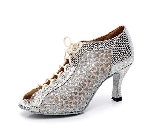 Minishion QJ5006 Womens Lace-up Mesh Latin Salsa Tango Dance Shoes Silver
