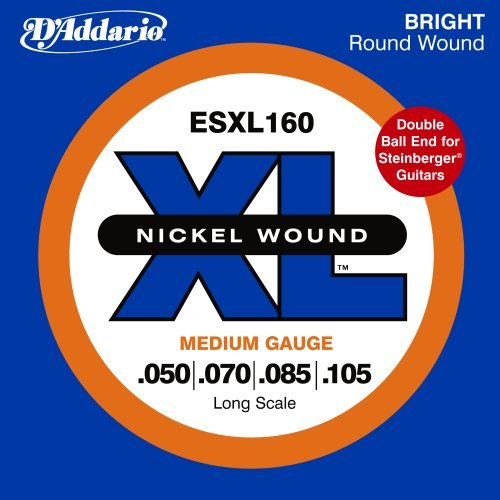 D'Addario ESXL160 Nickel Wound Bass Guitar Strings, Medium, 50-105, Double Ball End, Long Scale (Guitar Steinberger Bass)