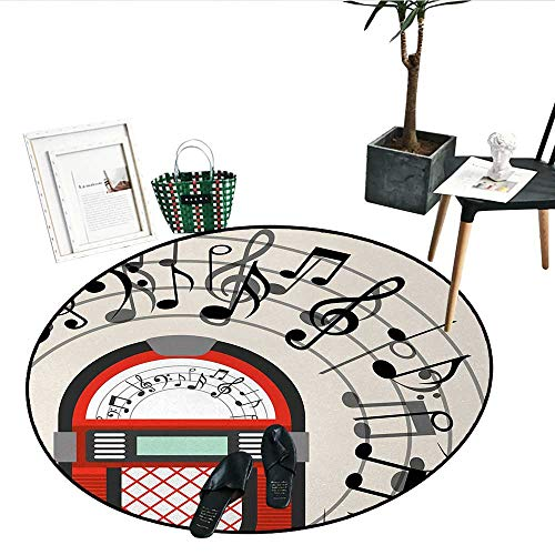 Jukebox Print Area Rug Cartoon Antique Old Vintage Radio Music Box Party with Notes Artwork Soft Area Rugs (43