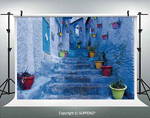 Background Street with Colorful Flower Pots in City of Chefchaouen in Morocco Travel Village Decorative 3D Backdrops for Interior Decoration Photo Studio Props