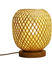 Kleine Tafellamp Bamboe Stof Natuurlijke Bamboe Tafellamp Handgeweven Hout Bedlampje E27 Decoratieve Slaapkamer Lamp Balkon Huis Slaapkamer Bruiloften Partijen