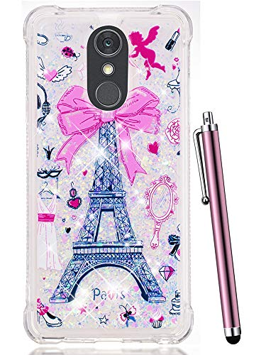CAIYUNL Case for LG Stylo 4 Case, LG Q Stylus Case, Glitter Bling Liquid Sparkle Shiny Clear TPU Quicksand Shockproof Protective Phone Case Design Cute Women Girls Cover for LG Stylo 4-Pink Iron Tower
