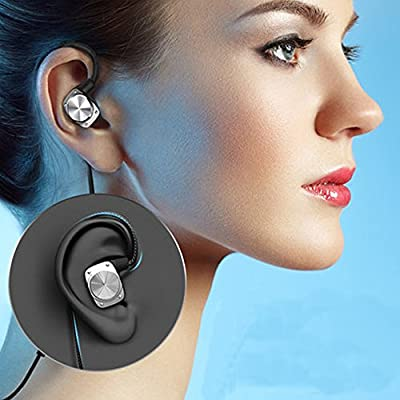 DYJ Bluetooth Headphones, Wireless 4.2 Smart Earbuds Stereo Earphones, Secure Fit for Sports with Built-in Mic [Upgraded Version](Black 2)