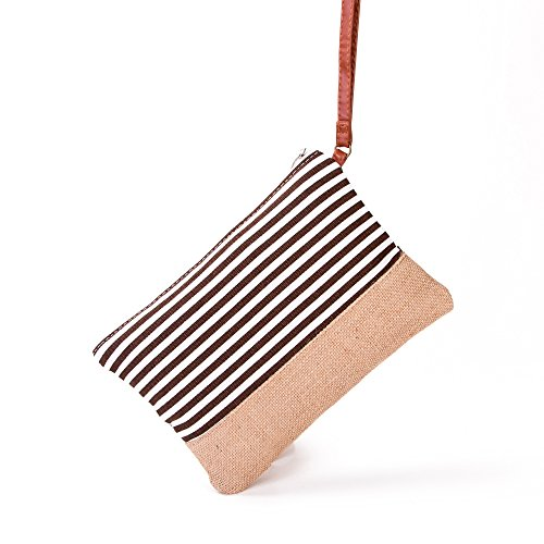 MISS FANTASY Cosmetic Bag Makeup Pouch with Stripe Print Straw Beach Bag Good for Beach and Travel (Coffee) (Stripe Beach Bag)