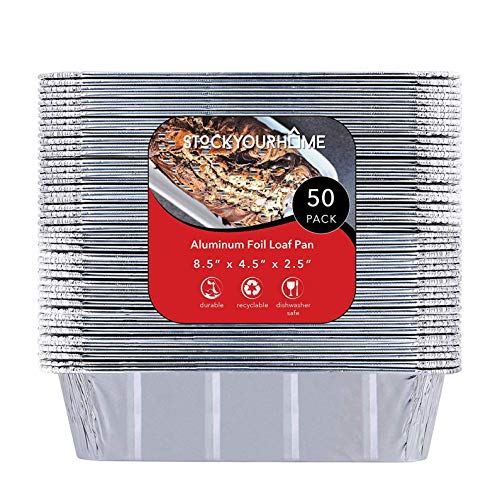 "Pans Disposable Loaf (2 lb Aluminum Foil Loaf Pans (50 Pack) - Disposable Standard Size Bread & Meatloaf Pan Great for Restaurant, Party, BBQ, Catering, Baking, Cooking, Heating, Storing Food – 8.5"" x 4.5"" x 2.5"")"