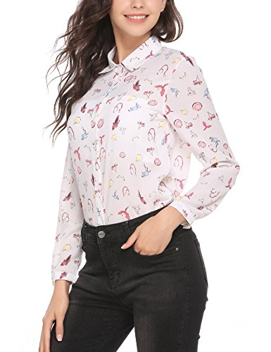 Animal Pleated Blouse Print - Pinspark Women's Fashion Collar Long Sleeve Print Casual Button Down Blouse Shirt (XL, White-Chiffon)