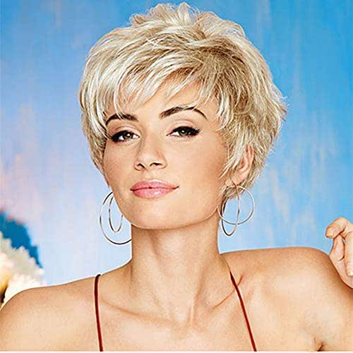 HAIRCUBE Fashion ShortWigs for White Women PixieCut Wig Easy-Care Human Hair Synthetic Blend Wigs for White Women