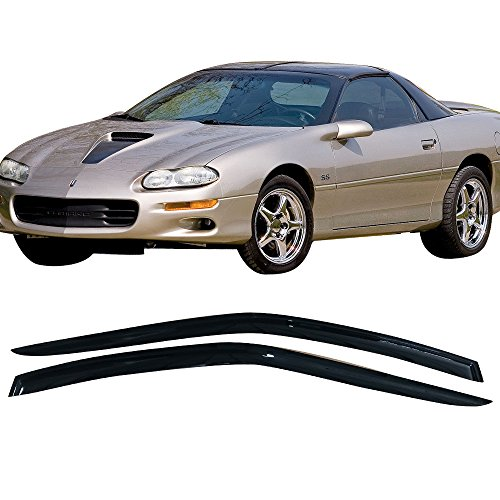 Camaro Z28 Convertible - Window Visor Fits 1993-2002 Chevy Camaro | Slim Style Dark Smoke 2PC Set Acrylic by IKON MOTORSPORTS | 1994 1995 1996 1997 1998 1999 2000 2001