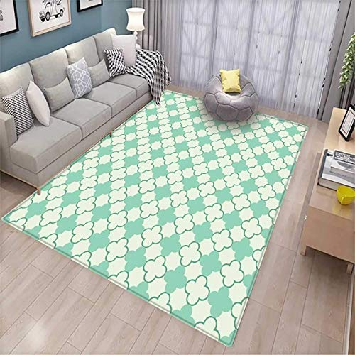 - Mint Area Rugs for Bedroom Victorian Style Old Fashioned Floral Motifs Nature Theme Pattern Feminine Door Mats for Inside Mint Emerald Pale Green