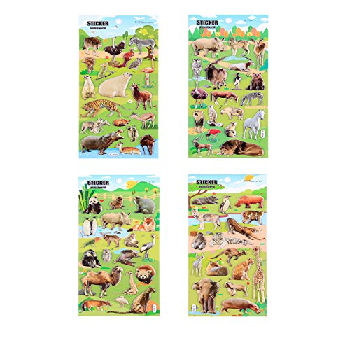 4 Sheets Cute Lovely Puffy DIY Decorative Adhesive Sticker Tape/Kids Craft Scrapbooking Sticker Set for Diary, Album (Animal)