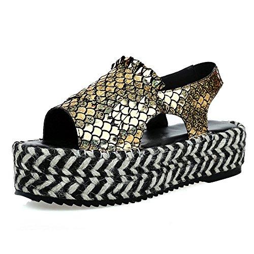 Gold DIU00743 Sandals Womens Kitten Heels Studded AN Urethane Sandals ASpx0qqw